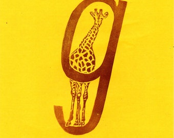 Giraffe G Monogram Linocut - Alphabet Typographic Lino Block Print with Animal - G is for Giraffe