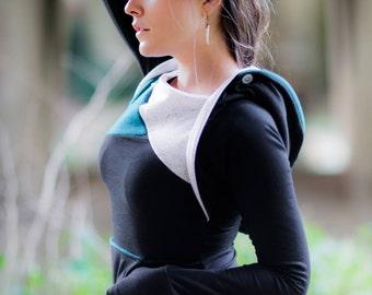 Eco Friendly bamboo hoodie, black and teal angles. Colorblock hoodie with kangaroo pocket. Asymmetric sweatshirt, thumbhole hoodie.
