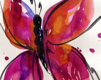 Butterfly Song 29... Original abstract watercolor art ooak painting by Kathy Morton Stanion  EBSQ