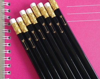 black pencils with gold foil arrow - set of 24