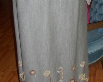 Timelessly Classic Gray Embellished Vintage Maxi Skirt - SO CHIC