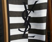 Vintage Authentic YSL logo letters silk scarf