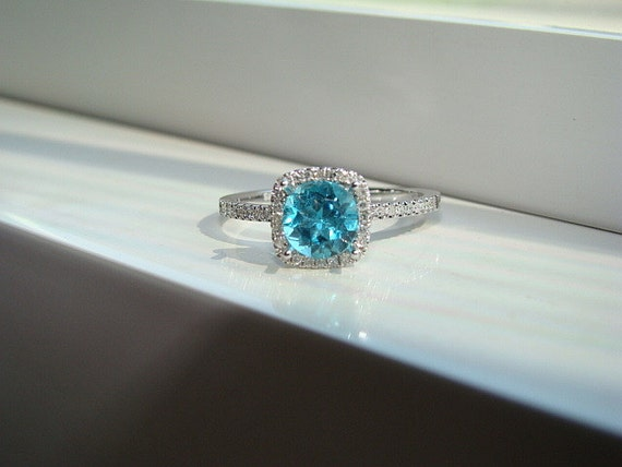 Halo Teal Apatite Diamond Ring Gemstone Engagement Ring Custom