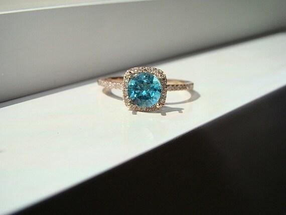 Items similar to Halo Teal Apatite Neon Diamond Ring Gemstone Engagement Ring