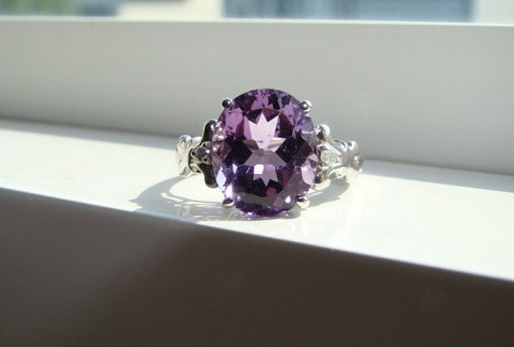 Purple Amethyst Diamond Ring Gemstone Engagement Ring Custom Cushion Oval Setting 10K White Gold size 7
