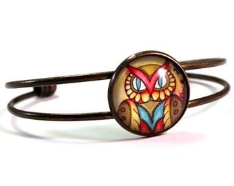 Bracelet, Bronze Cuff, Mexican Owl Art Print, Antique Gold Owl Jewelry, Multicolor Gift Bracelet for Teen Woman Friend