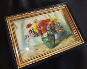 Beautiful 5 x 7 inch Framed Floral Still Life Fall Flowers Mums and Asters Print