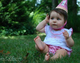 1st Birthday Hat Girl - Pink plaid and pastel dots- Free personalization