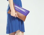 The Belinda Clutch ///// Royal Blue Clutch. Brown Leather Clutch. Wrist Strap Clutch. Oversized Clutch. Indigo Bag. - gracedesign