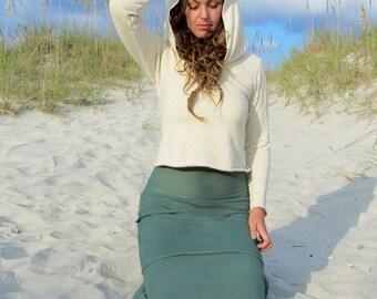 ORGANIC Beach Bum Hoodie Cropped Fleece Shirt ( hemp and organic cotton fleece ) - organic shirt