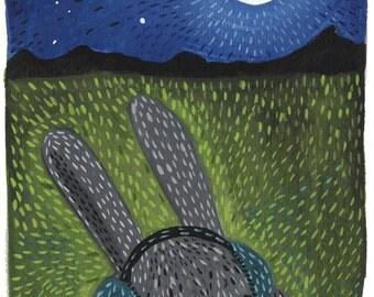 Rabbit in Headphones Print