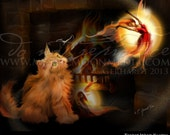 Those Who Know ... Print... Fantasy Art... Beautiful Fire Fairies and Kitten... hearth