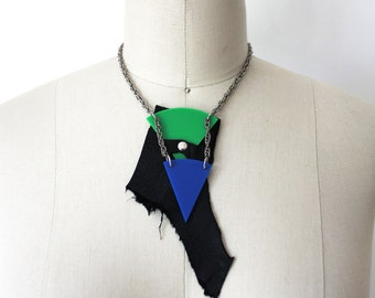 Blue, Green, Black and Silver Abstract Necklace