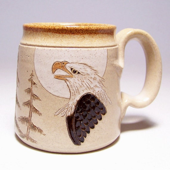 Bald Eagle and Pines Pottery Coffee  Mug Limited Series 69 (microwave safe) 12 oz