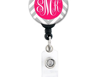 Monogram Badge Reel - Chevron Choice of Colors - Personalized Retractable Badge Holder