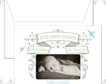 Birds and Vintage banner Photo Baby Announcement