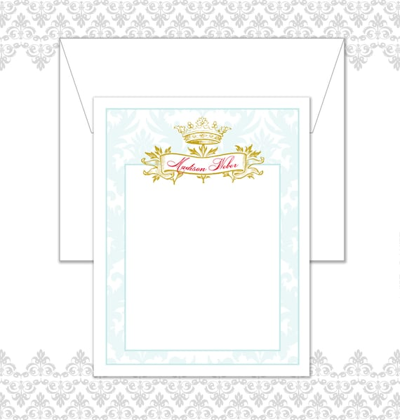 Custom order 2 Personalized Crown Damask Stationery Set of  10