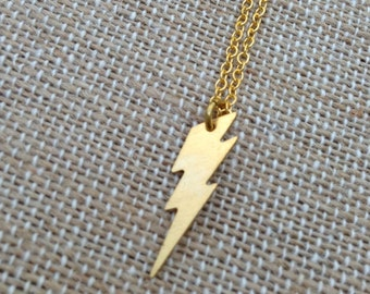 Bolt Of Lightning Small Brass Charm Necklace - Sale