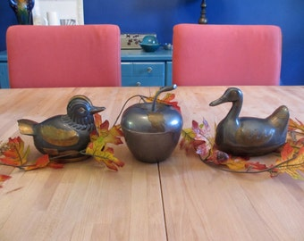 Set of 3 Pewter and Brass Boxes. Birds and Apple Fall Centerpiece