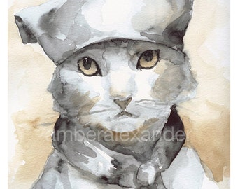 "Cat Watercolor Print- ""Les Mews"" cat art, chef, kitchen, sepia, neutrals"