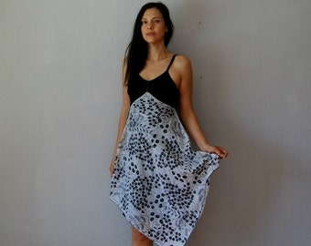 vintage recycled tiny FLORALS black slip dress