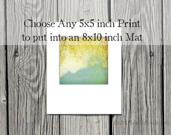 Any 5x5 inch print matted to 8x10. You choose the photograph to have matted, ready to frame,  in a white 8x10 mat, Nature, Landscape, Etc.