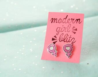 Venus Symbol Pink Slime Earrings