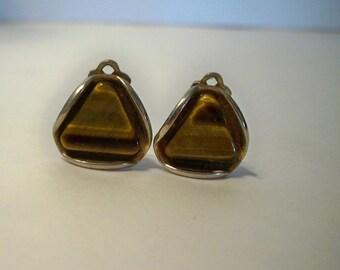 Tiger Eye Earrings Vintage Clip On Earrings Tiger Eye Cabochon with Silver Earrings Vintage Gemstone Earrings Gifts for Women