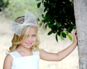 Flower Girl Bow - First Communion - Flower Girl Headband - Girls Hair Bows - Horsehair - Large Hair Bow - French Clip - Big Hair Bow