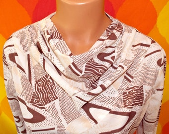 vintage 60s blouse disco COWL neck ivory brown op art pattern poly leisure Large women new with tags nwt