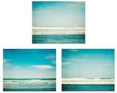 Beach decor photo set, teal ocean set of 3 beach photos, turquoise, waves, beach photography, wall decor, ocean photography, ocean wall art