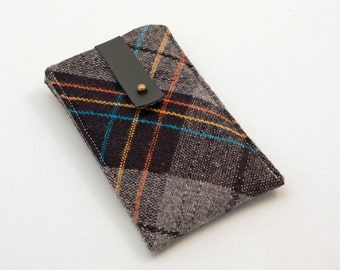 iphone sleeve - grey and black vintage wool plaid
