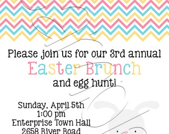 Custom Printable Chevron Easter Party Invitation