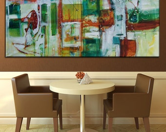 Large Abstract, art, Artwork, painting contemporary, modern abstract painting, from Lori Mirabelli orange yellow green