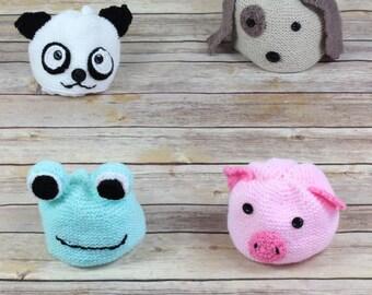 KNITTING PATTERN Animal Hats, Bear, Pig, Frog, Dog Knitting Pattern in 4 Sizes PDF 165 Digital Download