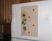Sunflower Bulletin Board, Memo Board, Message Board, Hand Painted Push Pins, Office, Bedroom, Kitchen, Fabric Memo board, Free Shipping