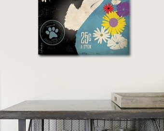 Shiba Inu Flower company graphic illustration on gallery wrapped canvas by stephen fowler