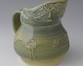Faceted Stoneware Pitcher with Wildflower Spout in Celadon Blue-Green