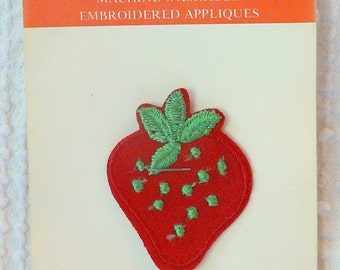 Vintage Strawberry Embroidered  Applique / Patch