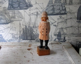 Vintage Handcarved Old Sailor Man in Yellow Raincoat