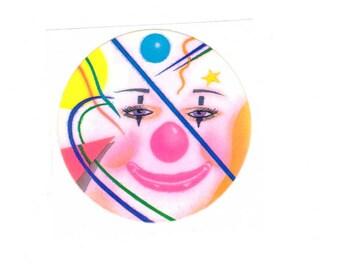 Lisa Frank Clown Face Sticker 80's Vintage 1982