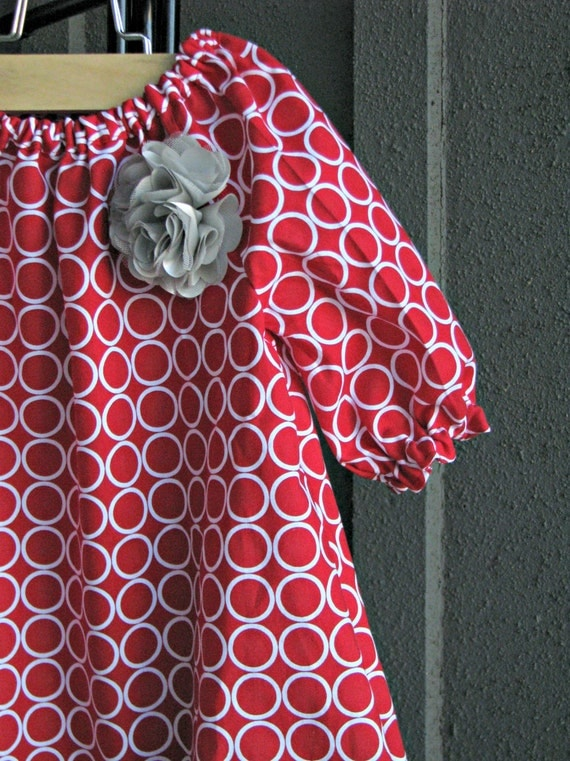 Dress holiday red white circles christmas silver grey baby toddler