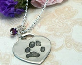 Pawprint Necklace from your Dog or Cat's Pawprints