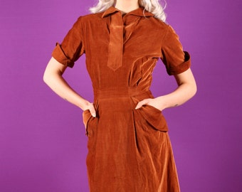 50s Brown Dress - Corduroy Day Dress with Pockets Small
