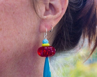 Colorful Statement Earrings Vintage Beads Red Yellow Aqua Big Bold Bright Sterling