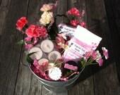 Bridesmaid Gift Coral Pink Carnation Floral Bath Salt Spa Gift Basket Soy Candles Shea Butter Lip Balm