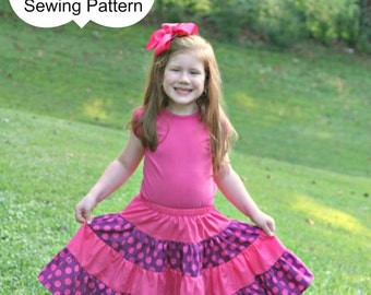 PDF Sewing Pattern - less Tutorial 4-tiered Skirt -- sizes 3m through 16 Ladies Instant