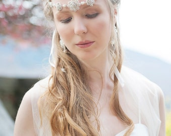 "Cream Wedding Lace Necklace / Ivory Pearl Crystal Halo Head Band / Wedding Jewelry / Fall Wedding ""Cordelia"""