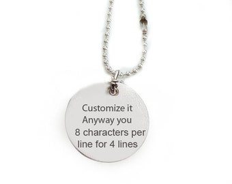 Hand Stamped Necklace, Personalized it anyway you want pendant, engrave sterling silver   copper, One side hand stamped ONLY