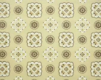1950's Vintage Wallpaper - Geometric Design in Gold and Brown